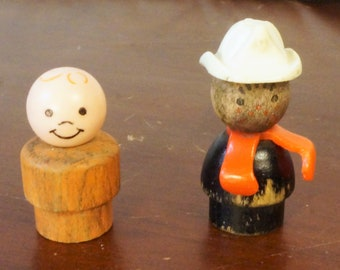 Vintage Early 1960s Fisher Price Toys Wood Little People, Fireman and Boy