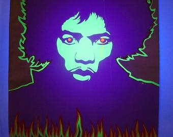 "Huge vintage 1968 psychedelic Jimi Hendrix print by Larry Smart, Dream Machine 47.5""x36.5"""