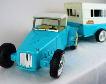 Vintage Nylint Jalopy and Sportsman Trailer, 1960s, Sky Blue and White, Grant's Exclusive
