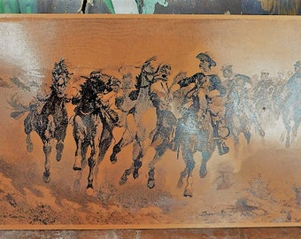 Frederic Remington Copper Photogravure Sioux Charge of the Sun Pole