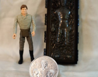 Vintage Kenner Star Wars POTF Last 17 Han Solo in Carbonite Chamber - 1984 POTF with Coin