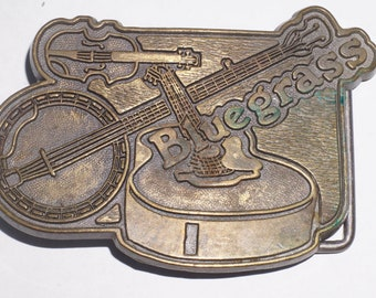 Vintage solid brass Bluegrass belt buckle 1970s