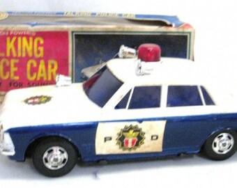 Rare Yonezawa Toys Talking Police Car, tin battery operated, Japan, IOB