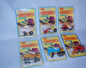 Vintage Lot of 6 Matchbox Superfast construction vehicles 1973-1977 MOC # 26, 29, 37, 49, 50, 51