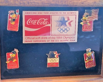 Coca Cola 1984 Los Angeles Summer Olympic Games pin sponsor set, framed