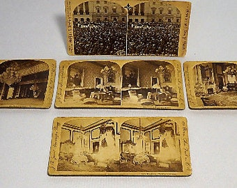 Stereoscopic view cards (qty 5) of President McKinley's March 4th 1897 1st inauguration, and views of the White House interior