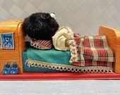 50s Linemar Toys flocked tin litho battery operated sleeping bear, Japan