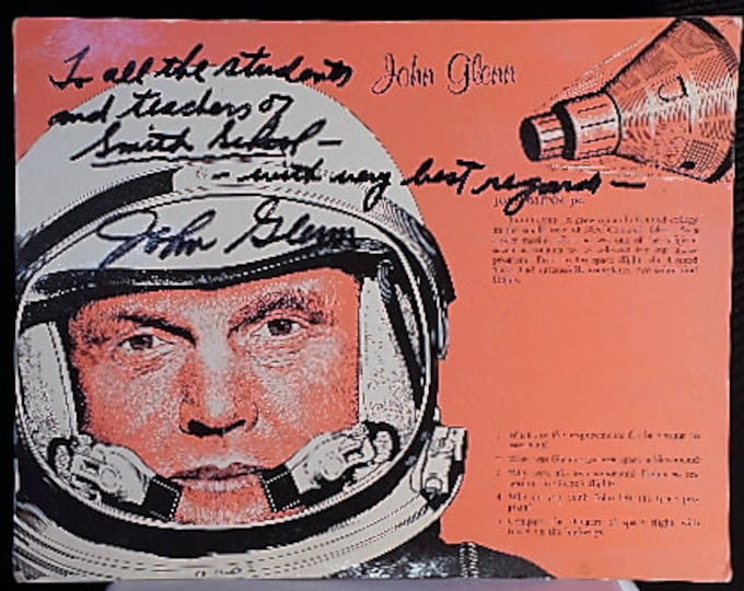 "Featured listing image: Signed John Glenn Poster to ""Smith School"" early 1970s"