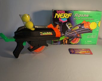 Vintage 1994 NERF Ripsaw Blaster MIB with catalog and original Nerf ballistic balls