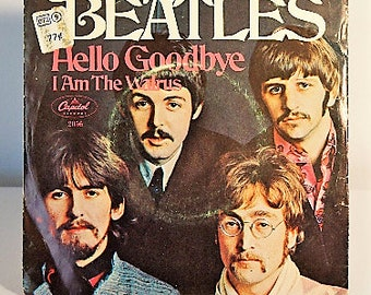 The Beatles 1967 45 I Am the Walrus/Hello Goodbye Capitol Records Cat. No. 2056 with photosleeve