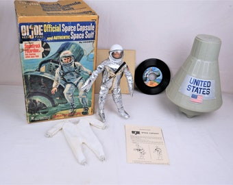 Vintage Hasbro 1966 GI Joe Space Command Capsule, Complete With Instructions and Both Cardboard Inserts, Plus Bonus Joe
