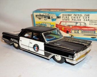 1960 Ford Highway Police Patrol Car, Japan Tin Litho Friction Car With Siren, Excellent Condition In Box