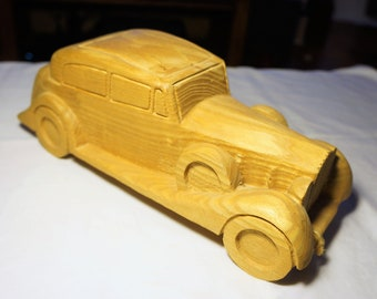 Vintage Hand Carved Solid Ash 1920s Rolls Royce Phantom