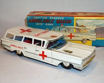 1960 Ford Ambulance Wagon Japan Tin Litho Friction Car With Original Box