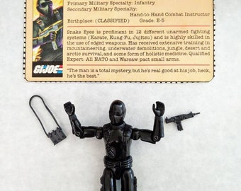 1982 Complete GI Joe Snake Eyes V1 With Clean File Card, Black Uzi, Explosives Pack, Tight Joints, Straight Arm Hasbro ARAH