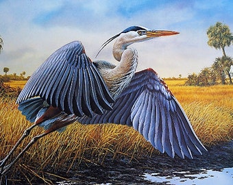 "Lee Cable ""Everglades Flight-Blue Heron"" 1980's signed, numbered, limited edition"
