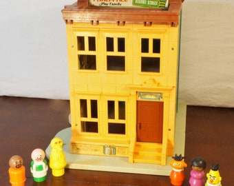 Vintage 1974 Fisher Price Play Family Sesame Street Playset With Bert, Ernie, Big Bird, Mr. Hooper, Susan, and Gordon