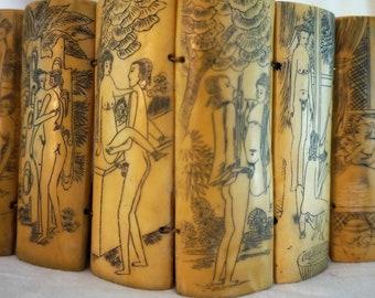 Vintage Japanese Ox Bone Erotic Scrimshaw Netsuke, Kama Sutra