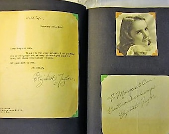 Rare 14 year old Elizabeth Taylor, Gregory Peck, Bob Hope, Henry Fonda, Bette Davis +++ Vintage Hollywood Movie Star Autograph Book!