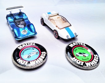 Vintage (NOT REISSUE) Redline Hot Wheels With Button, 1970 Jack Rabbit Special or 1969 Chapparal 2G, Blue, both USA, Your Choice