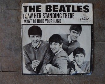 "Beatles 45 ""I want to hold your hand""/""I saw her standing there"", East Coast Version, Release 1-13-1964"