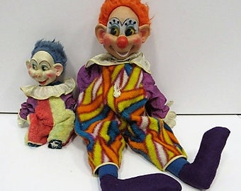 """Large Pair of 1950s Ideal Stuffed Clowns, 27"""" and 14"""", horrifying!"""
