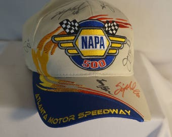 Signed NASCAR 2001 Napa 500 Atlanta Speedway Race baseball cap hat