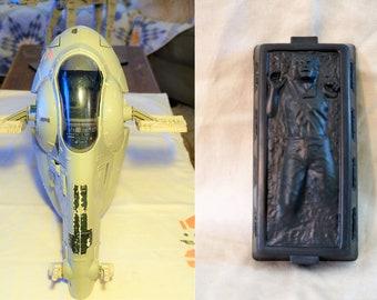 Vintage Kenner Star Wars Slave 1 Complete With NICE Han in Carbonite