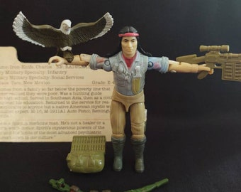 1984 Hasbro GI Joe Tracker Complete, Freedom eagle with feet, V1 Tracker, Rare V1 File Card, ARAH