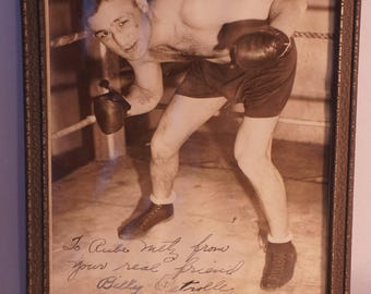 Boxer Billy Patrolle signed original photo to boxing judge Rube Metz, plus sig of Chicago boxer Joseph Murphy