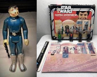 Blue Snaggletooth Kenner 1978 Star Wars Sears Cantina Set Complete IOB (toe dent)