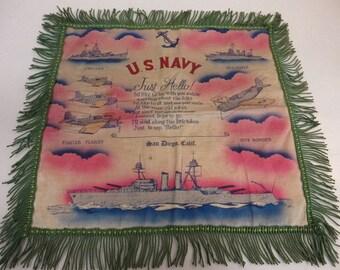 WW2 U.S. Navy San Diego, Calif. Sweetheart Pillow