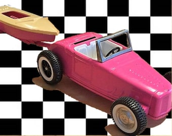 Vintage Grant's Special 1960s Pink Nylint Ford Jalopy Roadster and Boat/Trailer, Rare Exclusive Set, WOW!