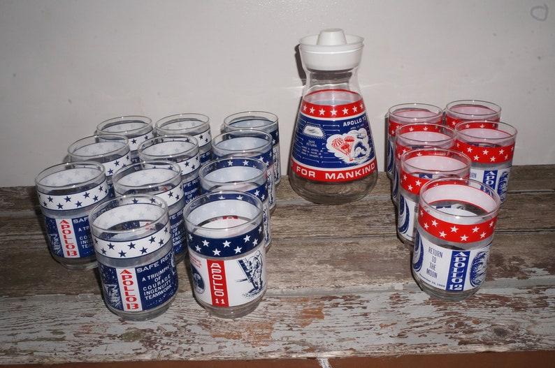 1969-70 Apollo 11, 12, 13, 14 Libbey Marathon Oil Carafe + Glasses,  Armstrong, Aldrin, Collins, Conrad, Gordon, Bean, Swigert, Hayes, Lovell