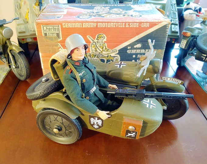 """Featured listing image: Vintage 1960s Cherilea German Army Motorcycle and Side-Car for 12"""" GI Joe and Action Man Figures, UK"""