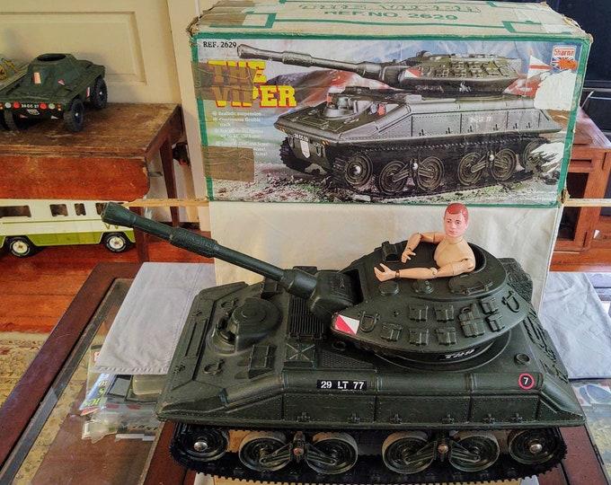 "Featured listing image: Vintage 1970s Cherilea (aka Sharna) Viper Tank With Original Box for 12"" GI Joe and Action Man Figures, UK"