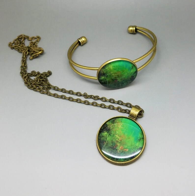 ARTBYSANDRAV Unique Jewelry Set Wearable Art Pendant Necklace Bronze Art Jewelry Set Gifts for Her Cuff Bracelet Green Jewelry Set