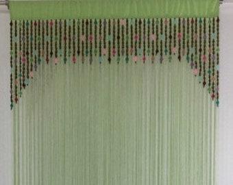 Wood & Glass Bead Curtain / Room Divider / Wall Art