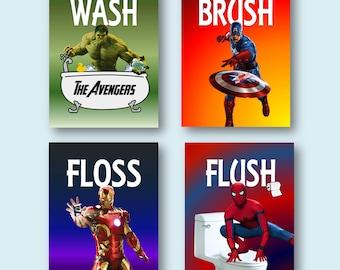 Avengers Superheroes Wash Brush Floss Flush Kids Bathroom Decor Wall Art Prints