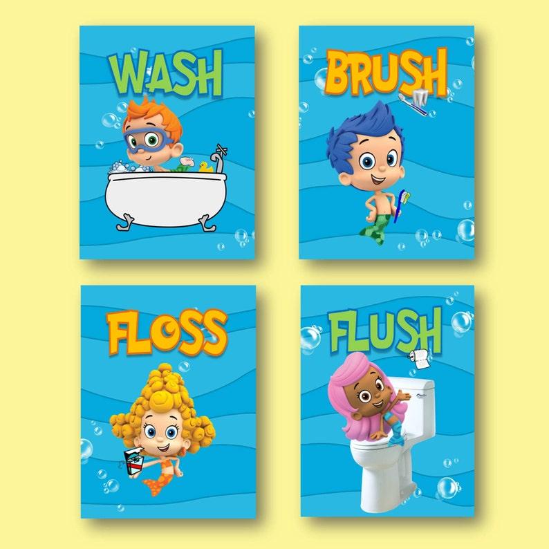. Bubble Guppies Wash Brush Floss Flush Kids Bathroom Wall Art   Set of 4