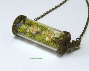 Moss and Daisies.Bronze Necklace.Nickel and Lead Free.Small Glass Bottle.Terrarium.Woodland.Botanical Jewellery.Real Moss.Green.