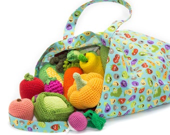 Crochet Fruit and Vegetables, waldorf pretend play food set in a bag 40 Pcs!, photo prop, eco-friendly Baby toys, MiniMom's