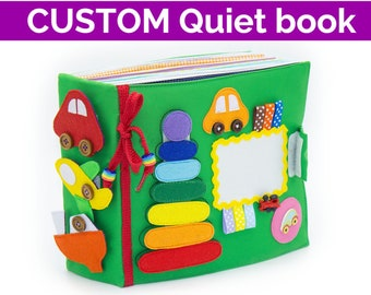 Custom personalized quiet book, montessori felt busy book toddler, soft educational textile activity toy, Birthday gift - Minimom's