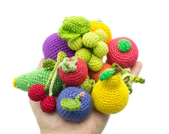 MINI Amigurumi Crochet Fruit and Vegetables set food doll in a bag 10 Pcs pretend play kitchen eco-friendly Baby toys Birthday gift