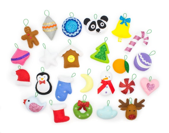 Christmas Ornament Sets.Christmas Ornaments Set Of 24 Felt Decorations For Advent Calendar Or Christmas Tree Hand Made Xmas Eco Toy Christmas In July By Minimom S