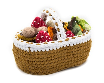 Crocheted basket for fruit, vegetables, Crochet Organizer, photo prop, play food, kids gardening toy, gift for easter - MiniMom's -