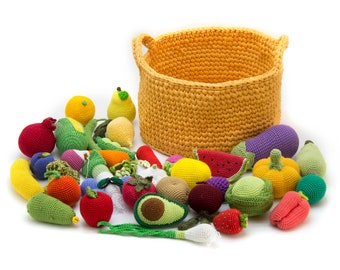 Play food set any 35 pcs Crochet fruit and vegetables in a basket Montessori Baby soft toys for pretend play kitchen Kids gardening toy