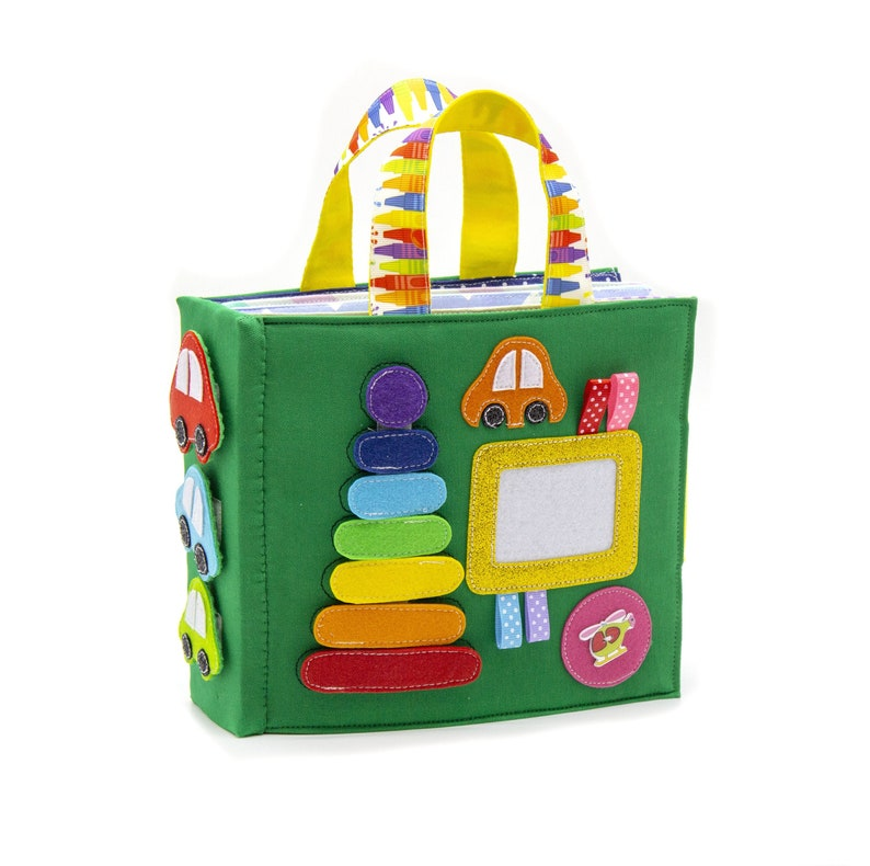 Personalized Busy book Rainbow Stacker Gift for Baby 1-6 green
