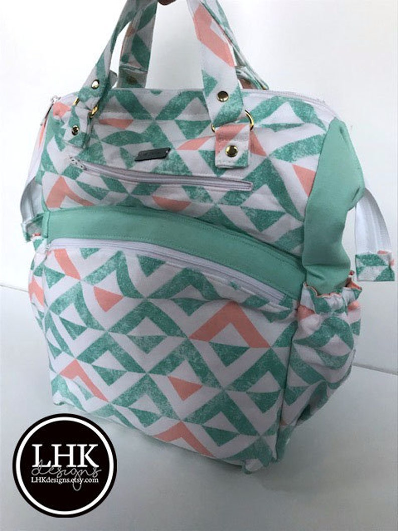 Mint /& pink backpack or diaper bag with lots of pockets