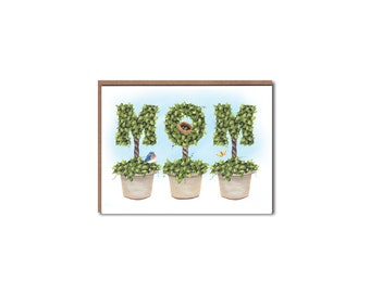 Mom Topiary Notecards - Mother's Day cards - Topiary Stationery